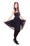 Menina ocasional que desgasta um vestido preto Imagens de Stock Royalty Free