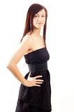 Menina ocasional que desgasta um vestido preto Fotografia de Stock Royalty Free