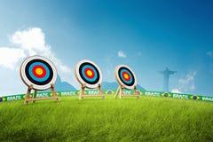 Menina olímpica do arqueiro de Archery Fotografia de Stock