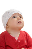 A menina olha acima. fotos de stock