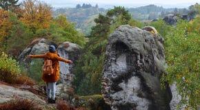 A menina olha montanhas Imagem de Stock