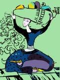 A menina oriental está sentando-se Seu cabelo é um jarro com fruto Fotografia de Stock