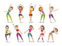 Menina ou aptidão contratada jovem mulher no gym Esporte, ginástica aeróbica, conceito saudável do estilo de vida Vetor engraçado ilustração stock