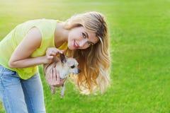 Menina ou mulher de sorriso feliz do encanto que guardam o cão de cachorrinho bonito da chihuahua no gramado verde no por do sol Fotos de Stock