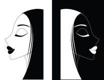 Menina ou mulheres ying-Yang ilustração stock