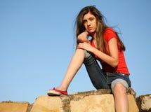 A menina pensativa Imagem de Stock Royalty Free