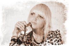 Menina pensativa (estilo do vintage) Imagens de Stock Royalty Free