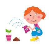 A menina pequena é planta molhando no jardim ilustração do vetor