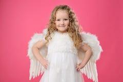 Menina pequena bonita do anjo Fotos de Stock