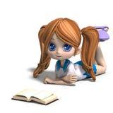 A menina pequena bonito da escola dos desenhos animados lê um livro. 3D Fotografia de Stock Royalty Free
