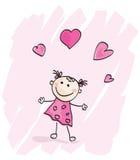 Menina pequena com corações Fotos de Stock
