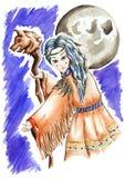 Menina pequena do curandeiro com noite da lua do pessoal Imagens de Stock Royalty Free