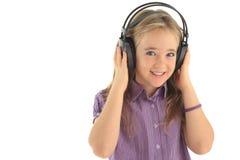 Menina pequena do DJ fotografia de stock