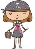 Menina pequena do pirata ilustração do vetor