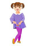 Menina pequena em um vestido com bolso Fotografia de Stock Royalty Free