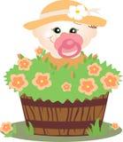 Menina pequena que joga no jardim Fotos de Stock Royalty Free