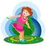 a menina pequena quer molhar as flores Imagens de Stock