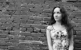 Menina perto da parede de tijolo Imagens de Stock