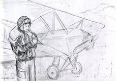 Menina piloto com um pássaro Imagens de Stock Royalty Free