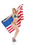 Menina Pin-Acima com bandeira americana Fotografia de Stock