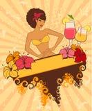 Menina Pin-acima com cocktail Imagens de Stock Royalty Free