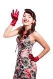 Menina Pin-acima com luvas vermelhas Imagem de Stock