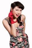 Menina Pin-acima com luvas vermelhas Fotos de Stock Royalty Free