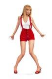 Menina Pin-acima em shorts vermelhos fotografia de stock