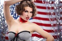 Menina Pin-acima. Estilo americano Fotos de Stock Royalty Free
