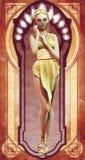 Menina Pin-acima no vestido do ouro Fotografia de Stock Royalty Free
