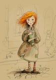 Menina pobre com um ramalhete das rosas Imagem de Stock Royalty Free