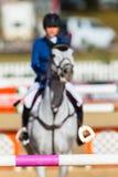 Menina Polos de salto borrados cavalo Foto de Stock Royalty Free