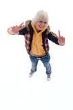 Menina positiva do Blonde do divertimento. fotografia de stock