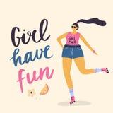 Menina positiva feliz do tamanho nos rolos ilustração stock