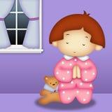 Menina Praying ilustração stock