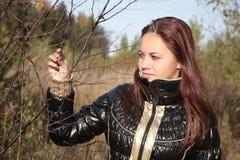 A menina prende uma filial de árvore imagem de stock royalty free