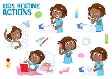 Menina preta pequena bonita e suas ações rotineiras diárias - fundo branco ilustração stock