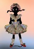 A menina preta pequena em um vestido bonito encheu-se com as estrelas Fotos de Stock Royalty Free