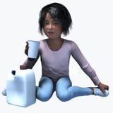 Menina preta pequena que guarda o copo e o contatiner 5 Foto de Stock Royalty Free