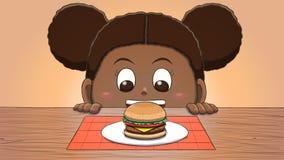 Menina preta que olha o Hamburger ilustração royalty free