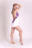 Menina profissional do dançarino no vestido branco Fotos de Stock Royalty Free