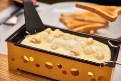A menina prova o raclette do queijo em um café Fotos de Stock