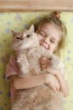 A menina que abraça o gato Fotografia de Stock