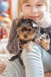 Menina que abraça o yorkshire terrier Imagens de Stock Royalty Free