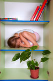 Menina que abraça um brinquedo e que esconde em um armário Imagens de Stock
