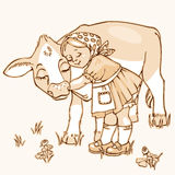 Menina que abraça a vaca Fotos de Stock Royalty Free