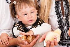 Menina que afaga uma galinha Foto de Stock Royalty Free