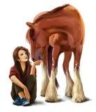 Menina que alimenta uma pintura da aquarela do cavalo Fotografia de Stock Royalty Free