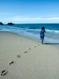 Menina que anda ao longo da costa Fotografia de Stock