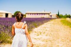 Menina que anda com as fileiras da alfazema de florescência ao lado da exploração agrícola da alfazema em Provence fotos de stock royalty free